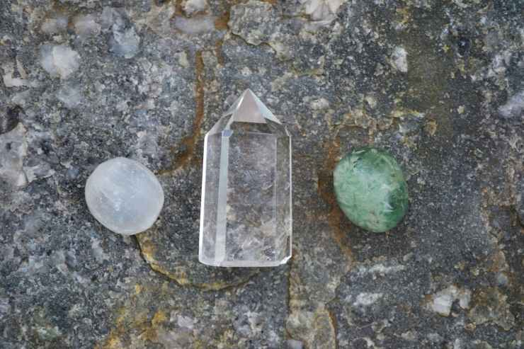 white clear and green healing crystals